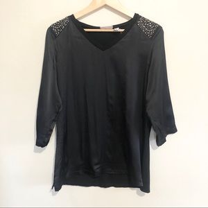Chico's silk tunic rhinestone shoulders